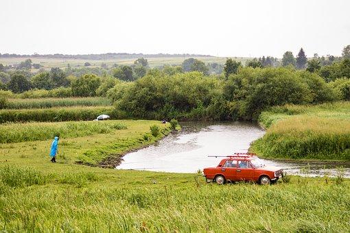 Ukraine, Fishing, Car, River, Water, Calm, Rain, Green