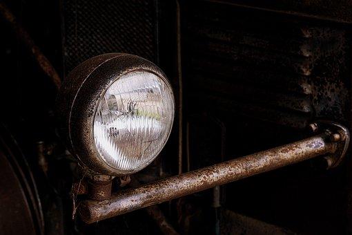 Spotlight, Old, Rust, Nostalgia, Motor Vehicle