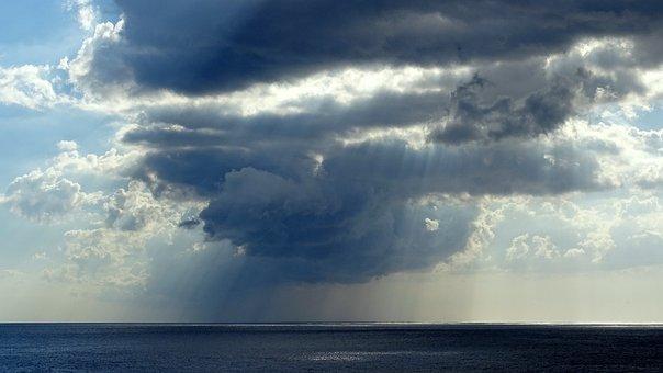 Sea, Water, Clouds, Rain, Shiver, Sun, Sky