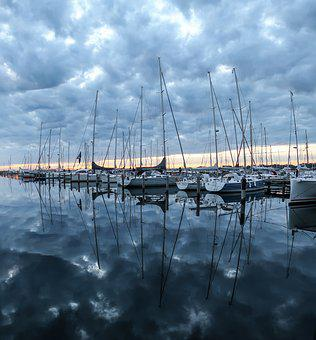 Port, Ships, Boats, Sunrise, Jetty, Boardwalk, Bridge