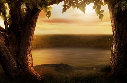 Background Image, Fantasy, Trees, Lake, Grass, Rush