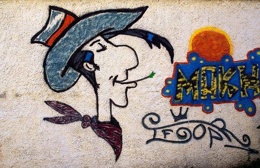 Wall, Cartoon Character, Luckyluke, Art, Graffiti