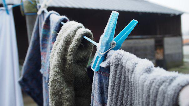 Frost, Laundry, Clothes Peg, Winter, Wash, Cold