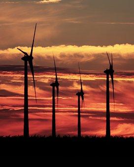 Sun, Sunset, Sunrise, Widmill, Wind Turbines, Clouds