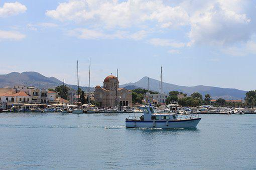 Aegina, Greece, Saronic, Church, Coast, Island, Harbor