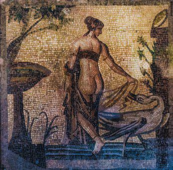 Leda And Swan, Mosaic, Ancient, Heritage, Culture