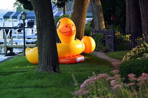 Pool Float, Floaty, Animal, Duck, Ducky, Giant, Yellow