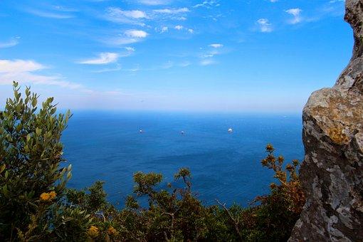 Gibraltar, Rock, Sea, England, Coast