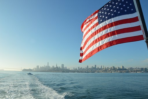 America, Usa, Flag, San Francisco, Alcatraz, Skyline