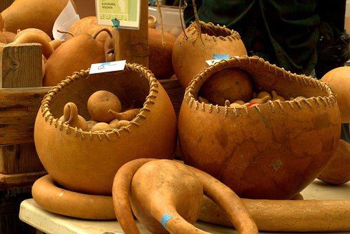 Gourd Baskets, Harvest, Gourds, Vegetables, Food