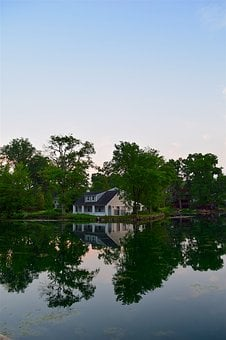 House, Lake, Trees, Reflection, Water, Nature