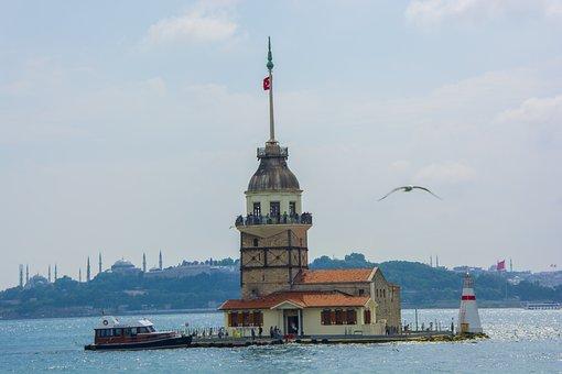 Maiden's Tower, Marine, Istanbul, Blue, Sky, Beach