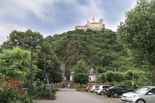Mountain, Castle, Auto, Parking, Tree, Flower, Lantern