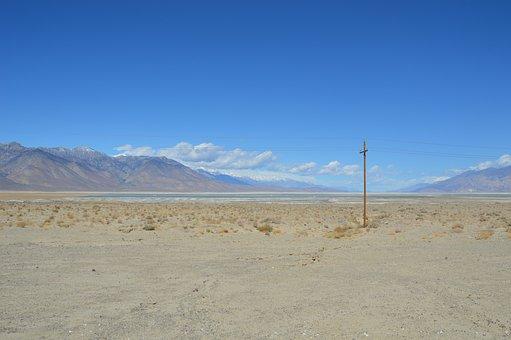 Death Valley, Desert, Landscape, Mountains, Snow, Hot