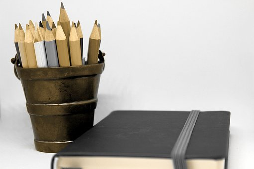 Pencils, Notebook, Brass, Bucket, Diary, Holder, Note