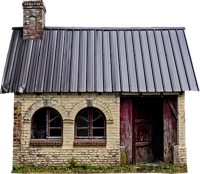 Home, Old, Building, Isolated, Small, Chimney, Window