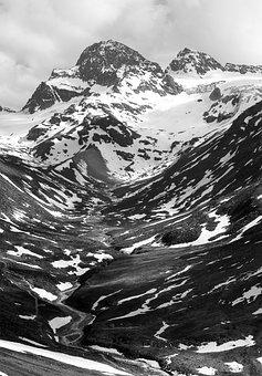 Mountain, Piz Buin, Black And White, Vorarlberg