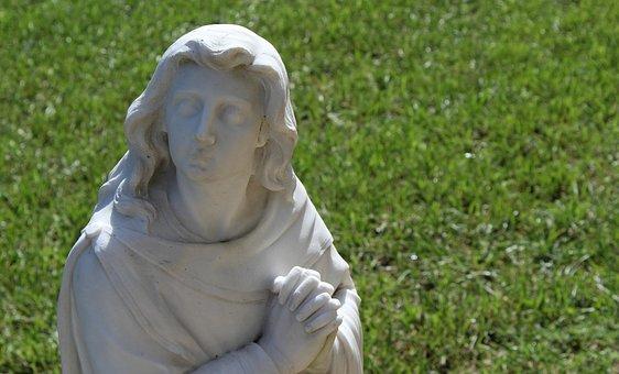 Angel, Statue, Prayer, Sculpture, Stone, Religion