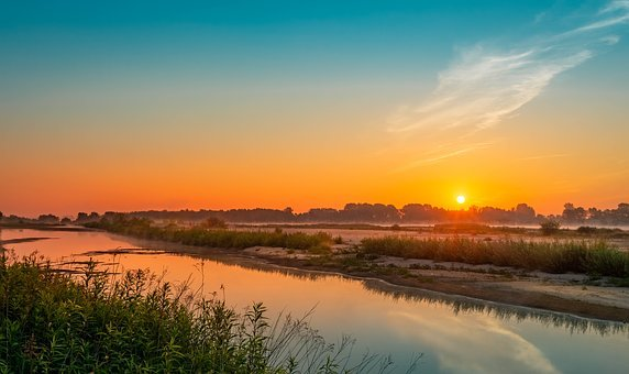 Wisla, Sunrise, Morning, Dawn, The Fog, Sky, River