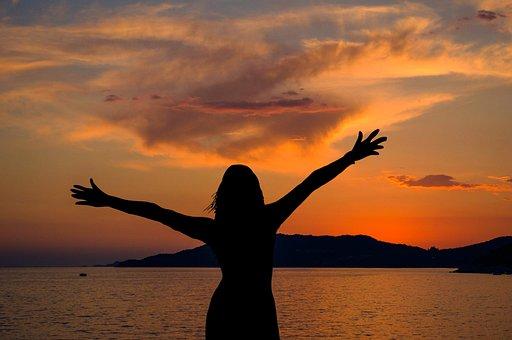 Sunset, Woman, Silhouette, Sky, Clouds, Dusk, Landscape