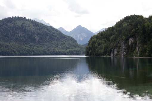 Lake, Mountains, Sky, Forest, Bergsee, Alpine
