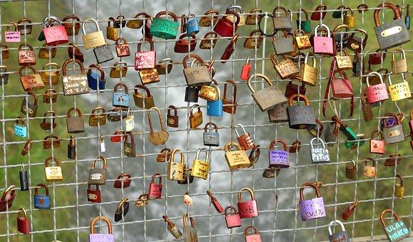 Padlocks, Bridge, Over Flow, Symbol, A Pair Of, Love