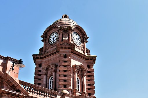 Clock Tower, Train Station, Nottingham, Brick, Clocks