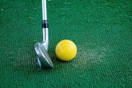 Club, Cane, Golf, Ball, Turf, Yellow