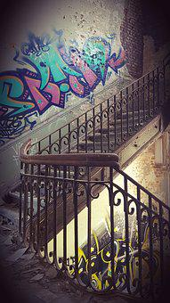 Stairs, Staircase, Ruin, Old House, Abandoned Place
