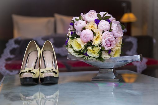 Shoes, Bouquet, Wedding, Bed