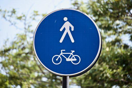 Road Sign, Street Sign, Communication, Walk, Bicycle