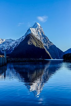 New Zealand, Mountain, Reflection, Landscape, Blue