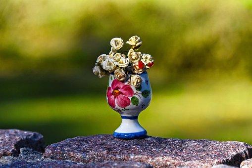 Vase, China, Paper Flowers, Decoration, Bric-a-brac