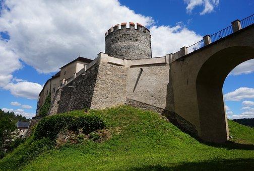 Tower, Bridge, Castle, Czechia, Architecture, Tourism