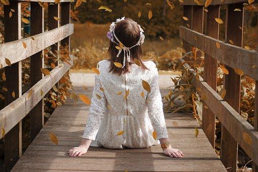 Girl, Nature, Bridge, Wreath, Flowers, White, Dress