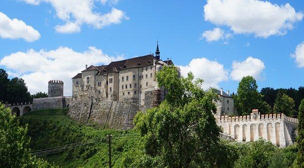 Castle, Rock, Czechia, Gothic, Clouds, Architecture