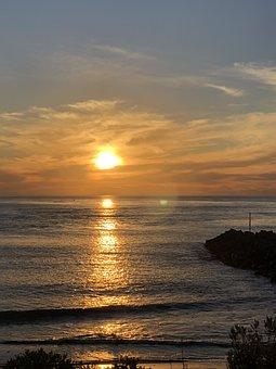 Sunset, Coastline, Scenery