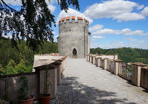 Tower, Castle, Czechia, Architecture, Bridge, Fortress