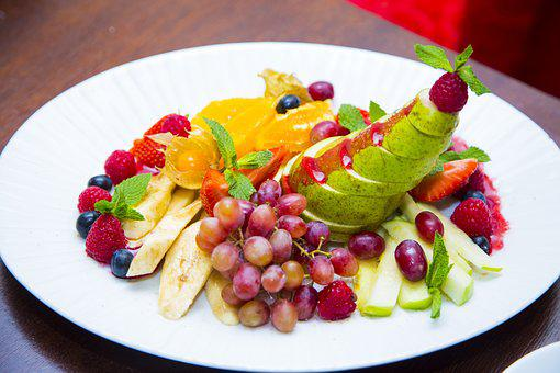 Fruit, Plate, Grapes, Dish, Dessert, Cooking