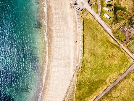Drone, Water, Land, Irland, Beach, Waves, Summer, Dji