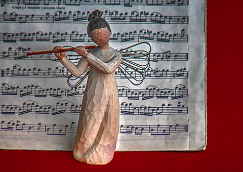 Angel, Music, Figure, Flute, Notenblatt, Wing