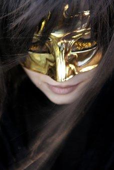 Woman, Mask, Gold, Hidden, Girl, Portrait, Fashion