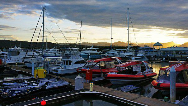 Port Douglas, Boat, Harbour, Sunset