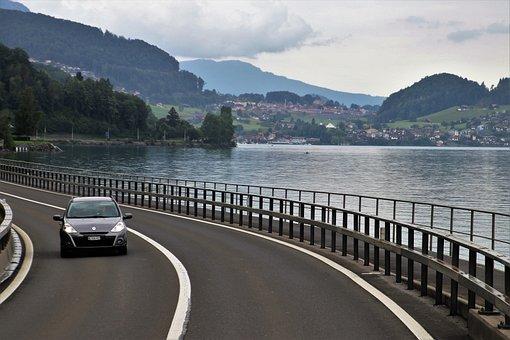 Lake, Alpine, Highway, Mountains, Figure, Bend, View