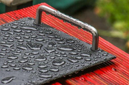 Tray, Wood, Table, Garden, Raindrop, Rain, Water, Metal