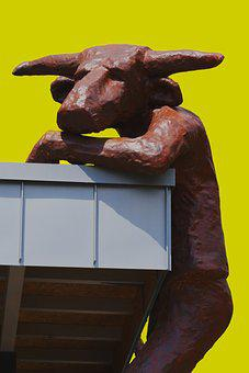Minotaur, Sculpture, Horns