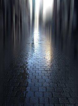 Road, Morning, Paving Stones, Reflection, Mood