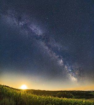 Moonrise, Milky Way, Moon, Star, Night, Starry Sky