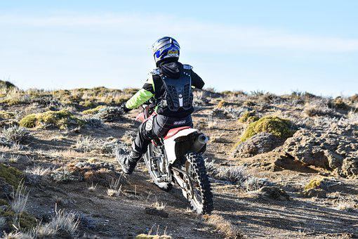 Motorcyclist, All Terrain, Ascent, Path, Mountains
