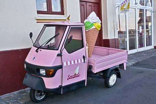 Piaggio, Ice Cream Cone, Ice Cream Van, Ice Cream Shop